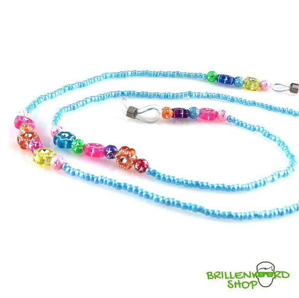 1103 zonnebril koord - zonnebri touwtjes - ibiza - bohemian - glaskralen - blauw