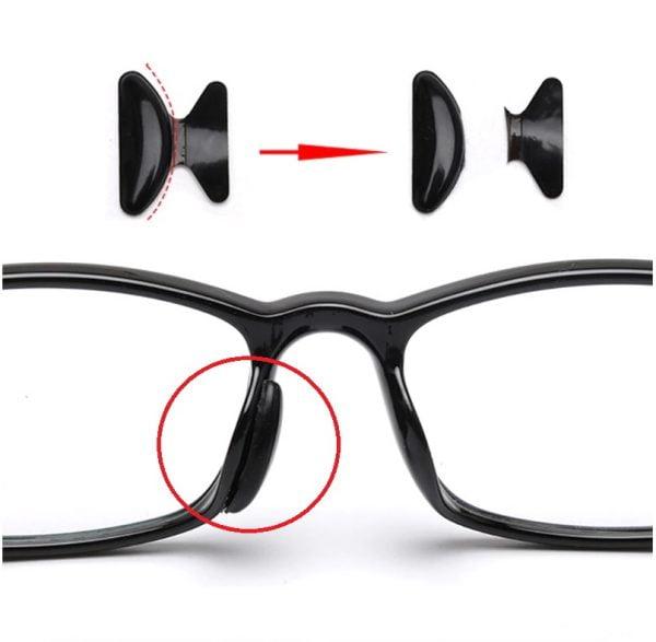 anti slip neuspads voor bril - neuspads - neuskussens voor bril - transparant en zwart 2