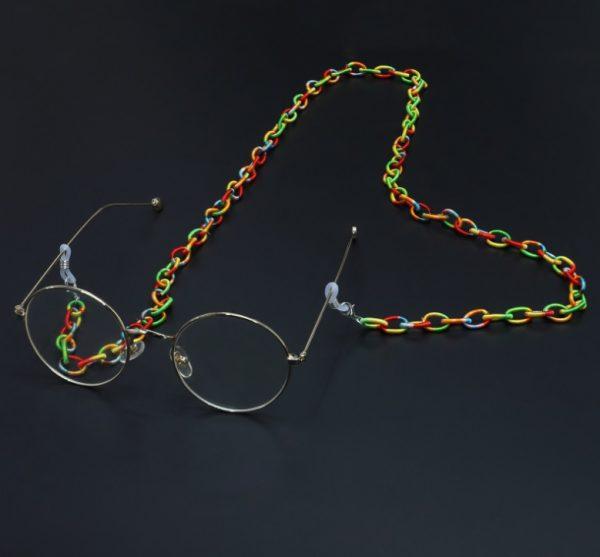 1192 brilketting acryl gevlochten regenboog - rainbow - bohemian - grote schakel 2