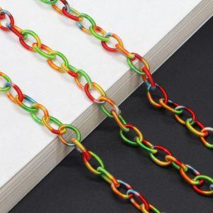 1192 brilketting acryl gevlochten regenboog - rainbow - bohemian - grote schakel 3