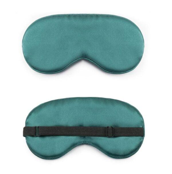 1212-zijde slaapmasker-reismasker-blinddoek groen zwarte band