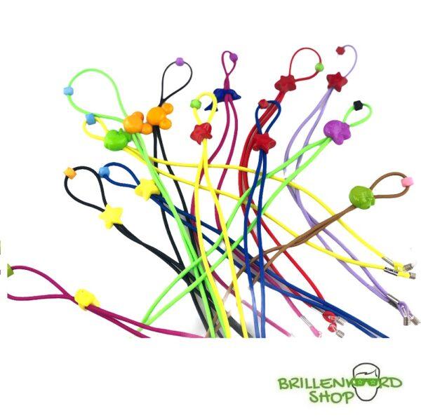 set - brillenkoord kinderen - elastisch - met figuurtje - assorti kleur