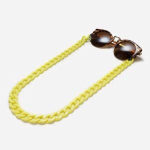 1270 - brillenketting Grote Schakel Geel - Retro - Vintage - Eyezoo XL Chain