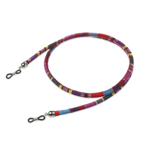 1278 - bohemian brillenkoord - Eyezoo - Softwear - Rond -paars rood blauw