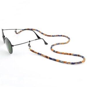 1310 - brillenkoord cubicals - vierkante kralen - beige - blauw - goud - 3