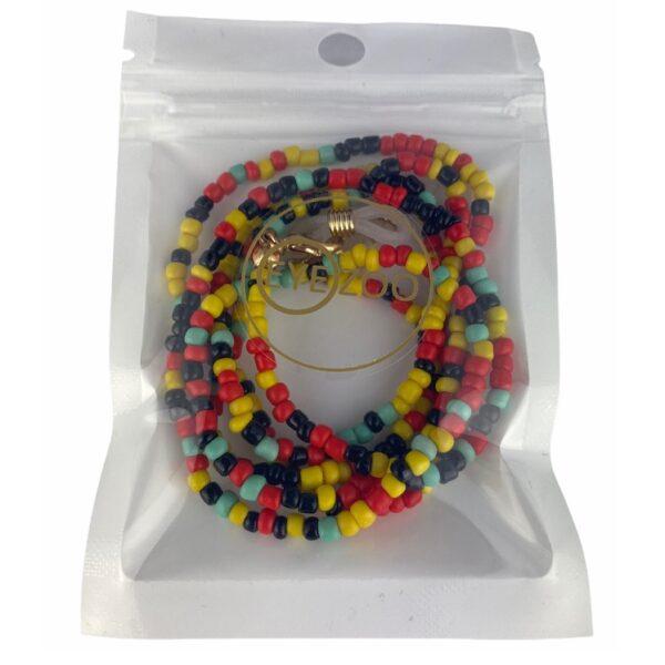1311 brillenketting gekleurde kralen - Jamaica splash - verpakt