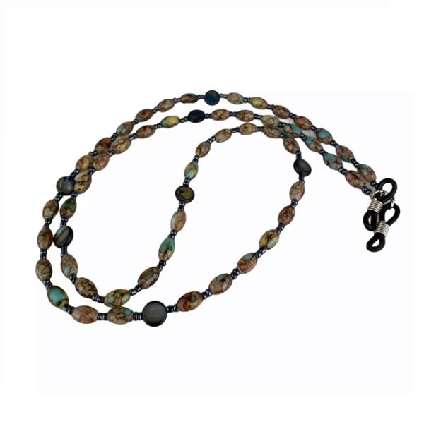 1315 brillenketting natuursteen turkoos en zwart