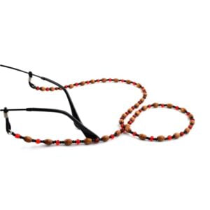 1320 brilketting houten kralen met rode spacer - bloodred - 2