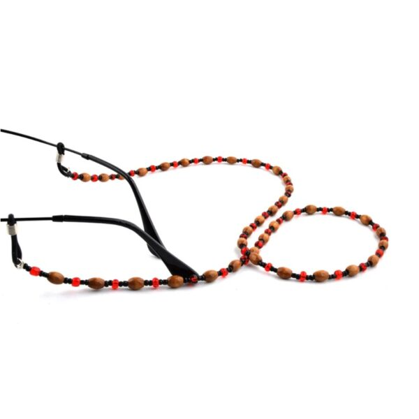 1320 brilketting houten kralen met rode spacer - bloodred - 2