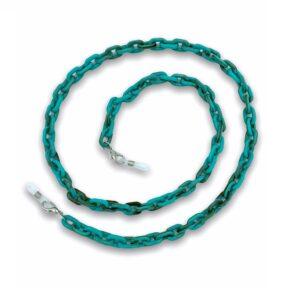 21278 Brillenketting grote schakel - XL Chain - Eyezoo - turkoois ovaal medium