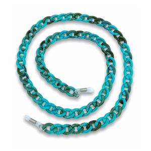 21282 brillenketting grote schakel XL chain turkoois cubaanse schakel